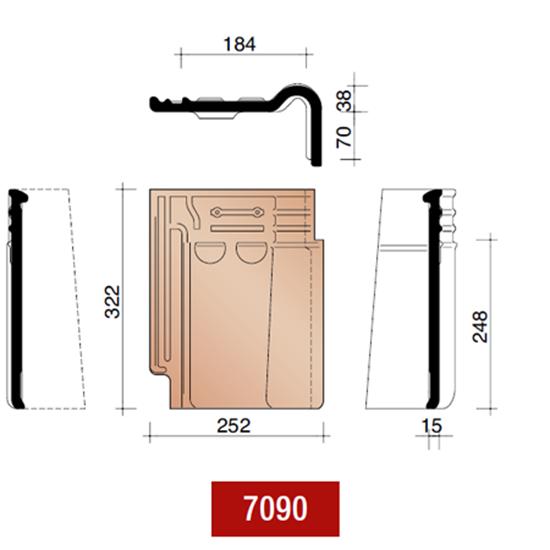 Picture of Koramic stormpan 993 gevelpan rechts leikleur